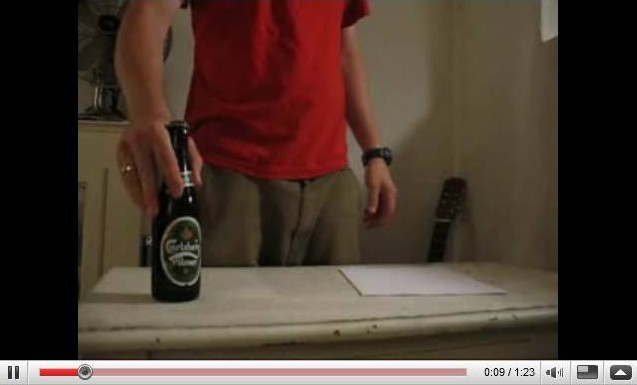 open bottle beer paper