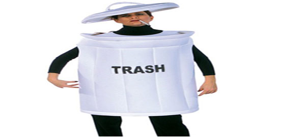 Wearing a White Trash Can costume certainly seems out of the ordinary. No  one would have thought of using a trash can as a costume like this one.