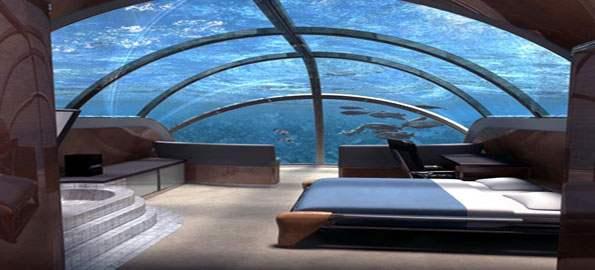 Jules Undersea Lodge     Key Largo     FloridaUnderwater Hotel Room At Night