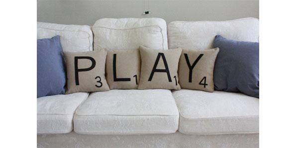 Couches and pillows that look like a scrabble board