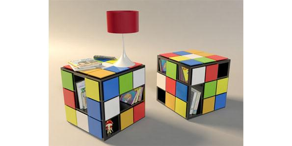 coffee table in the shape and design of a Rubik's cube