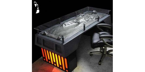 office desk with Han Solo's carbonite-frozen body underneath
