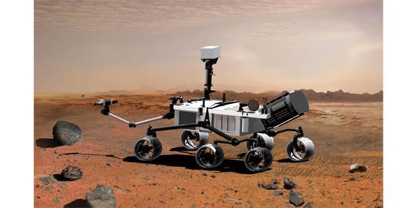 Mars curiosity rover lands