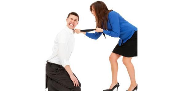 Man running away from woman