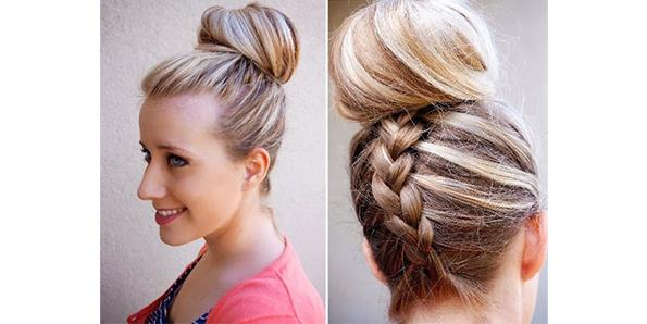 Top Knot with French Braid
