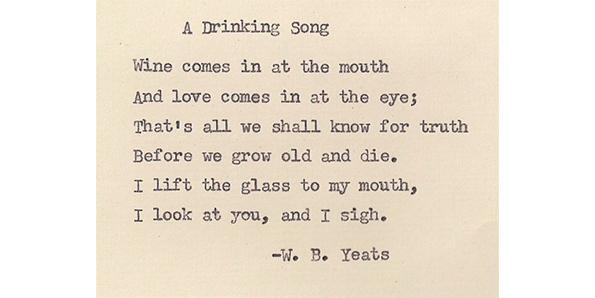 'A Drinking Song' by W.B